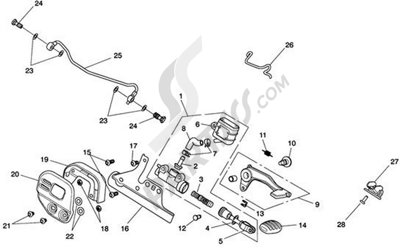 Triumph ROCKET III CLASSIC & ROADSTER Rear Brake Master Cylinder, Reservoir & Pedal - Roadster
