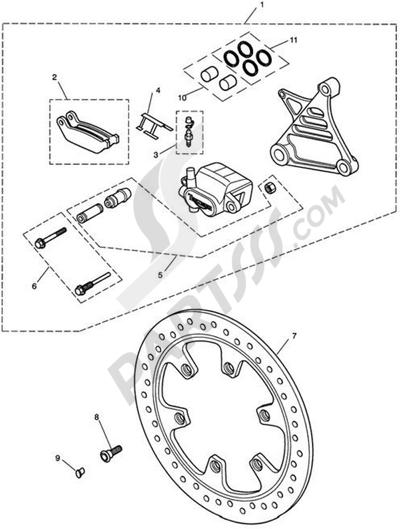 Triumph ROCKET III CLASSIC & ROADSTER Rear BrakeCaliper & Disc