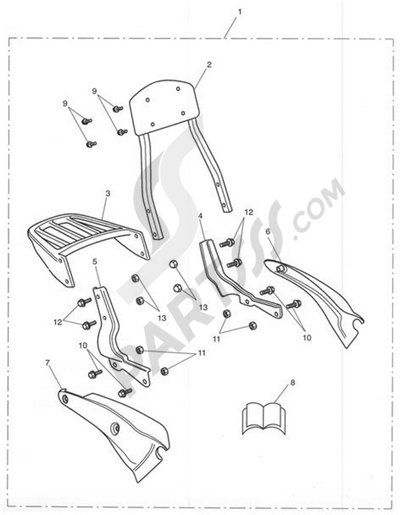 Triumph ROCKET III CLASSIC & ROADSTER Short Sissy Bar & Luggage Rack