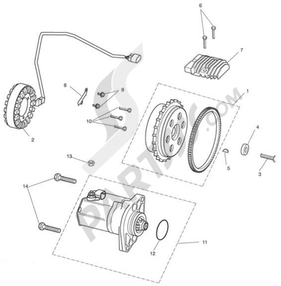 Triumph ROCKET III CLASSIC & ROADSTER Starter & Alternator