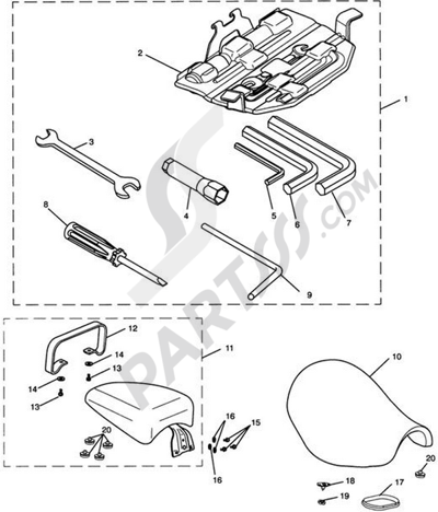 Triumph ROCKET III CLASSIC & ROADSTER Tool Kit & Seat - Rocket III & Roadster