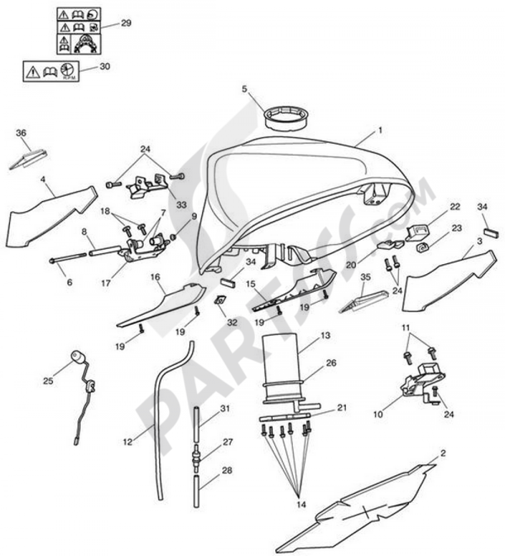 Fuel Tank & Fittings - 340148 (Non ABS) 340227 (ABS Version) Triumph ...
