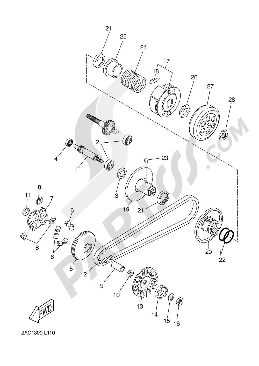 CLUTCH Yamaha AEROX 4T 2016