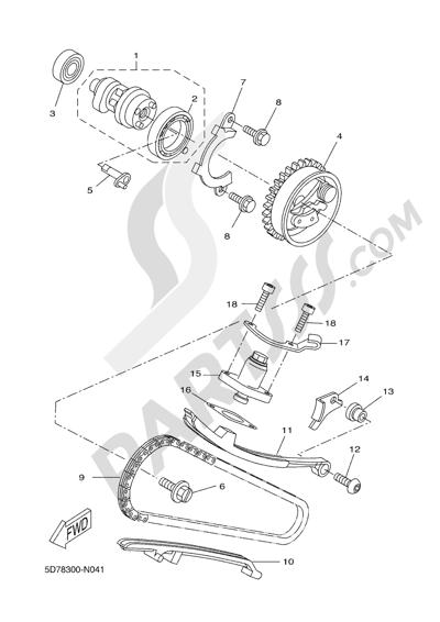 Yamaha MT-125 ABS 2016 CAMSHAFT & CHAIN