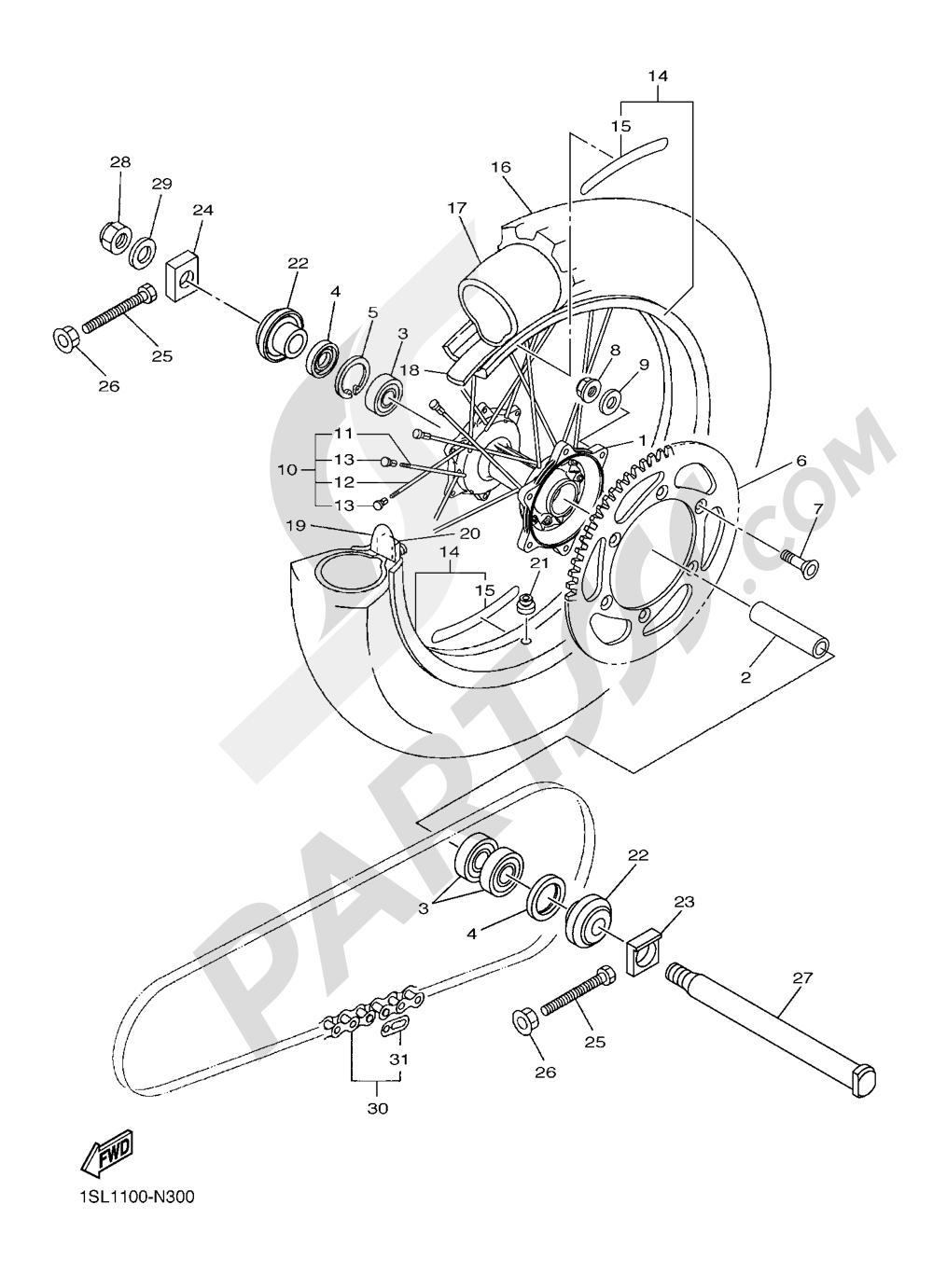 REAR WHEEL 1 Yamaha YZ450F 2016