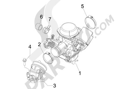 Piaggio BEVERLY 125  EURO 3 2007 2007 EURO 3 Carburador completo - Racord admisión