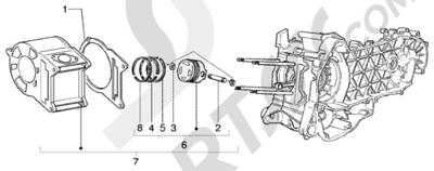 Piaggio BEVERLY 125 RST ANTERIOR 2005 Grupo cilindro - piston - eje de piston