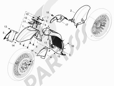 Piaggio BEVERLY 125 RST 4V ie E3 2010-2011-2012-2013-2014-2015 Alojamiento rueda - Guardabarros