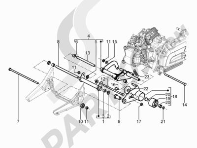 Piaggio BEVERLY 125 RST 4V ie E3 2010-2011-2012-2013-2014-2015 Brazo oscilante