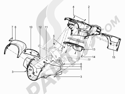 Piaggio BEVERLY 125 RST 4V ie E3 2010-2011-2012-2013-2014-2015 Coberturas manillar
