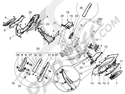 Piaggio BEVERLY 125 RST 4V ie E3 2010-2011-2012-2013-2014-2015 Cubierta central - Estribos