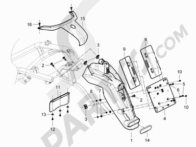 Piaggio BEVERLY 125 RST 4V ie E3 2010-2011-2012-2013-2014-2015 Cubierta trasera - Salpicador