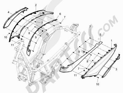Piaggio BEVERLY 125 RST 4V ie E3 2010-2011-2012-2013-2014-2015 Cubiertas laterales - Spoiler