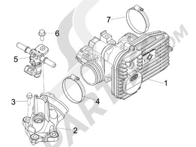 Piaggio BEVERLY 125 RST 4V ie E3 2010-2011-2012-2013-2014-2015 Cuerpo con mariposa - Inyector - Racord admisión