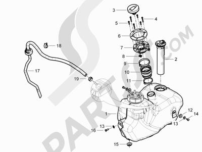 Piaggio BEVERLY 125 RST 4V ie E3 2010-2011-2012-2013-2014-2015 Depósito carburante