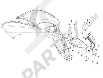 Piaggio BEVERLY 125 RST 4V ie E3 2010-2011-2012-2013-2014-2015 Faros traseros - Indicadores de dirección