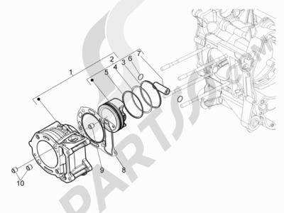 Piaggio BEVERLY 125 RST 4V ie E3 2010-2011-2012-2013-2014-2015 Grupo cilindro-pistón-eje