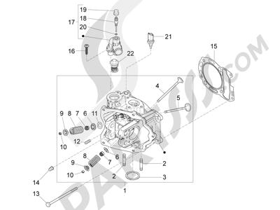 Piaggio BEVERLY 125 RST 4V ie E3 2010-2011-2012-2013-2014-2015 Grupo culata - Valvula