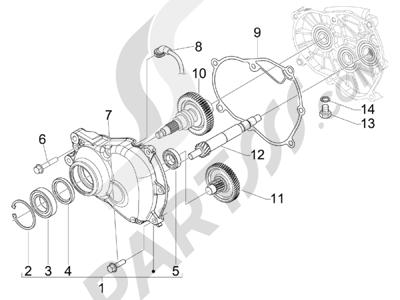 Piaggio BEVERLY 125 RST 4V ie E3 2010-2011-2012-2013-2014-2015 Grupo reductor