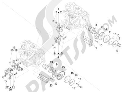 Piaggio BEVERLY 125 RST 4V ie E3 2010-2011-2012-2013-2014-2015 Grupo soporte balancines