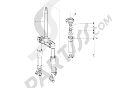 Piaggio BEVERLY 125 RST 4V ie E3 2010-2011-2012-2013-2014-2015 Horquilla Tubo direccion - Conjunto tejuelos