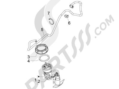 Piaggio BEVERLY 125 RST 4V ie E3 2010-2011-2012-2013-2014-2015 Instalación de alimentación