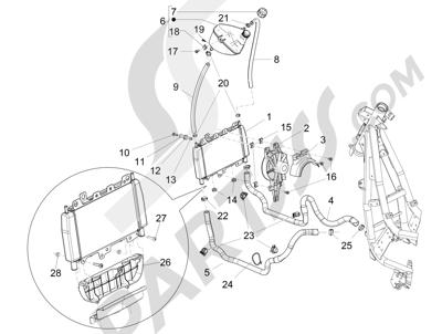 Piaggio BEVERLY 125 RST 4V ie E3 2010-2011-2012-2013-2014-2015 Instalación de refrigeracion