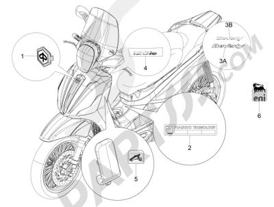 Piaggio BEVERLY 125 RST 4V ie E3 2010-2011-2012-2013-2014-2015 Letreros - Escudos