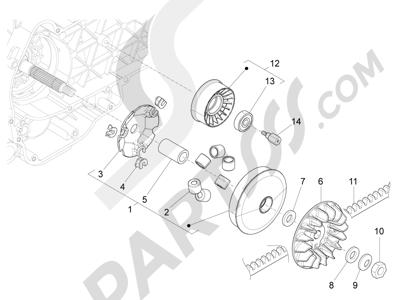 Piaggio BEVERLY 125 RST 4V ie E3 2010-2011-2012-2013-2014-2015 Polea conductora
