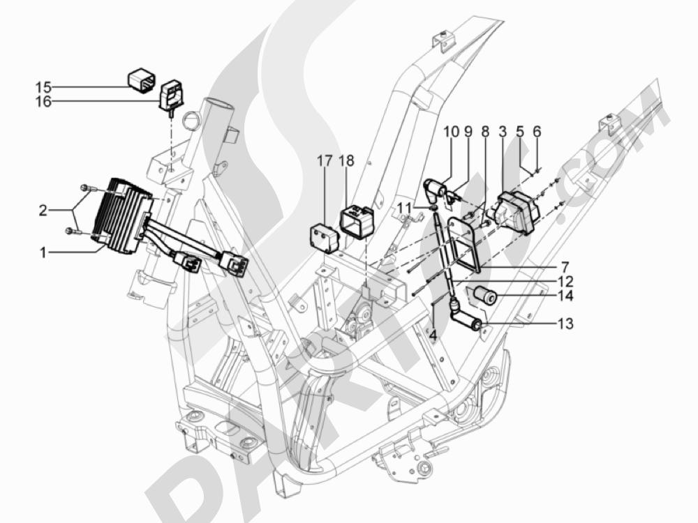 Piaggio BEVERLY 125 RST 4V ie E3 2010-2011-2012-2013-2014-2015 Reguladores de tensión - Centralitas electrónicas - Bobina A.T.
