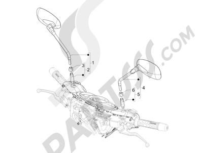 Piaggio BEVERLY 125 RST 4V ie E3 2010-2011-2012-2013-2014-2015 Retrovisor es