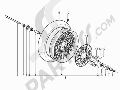 Piaggio BEVERLY 125 RST 4V ie E3 2010-2011-2012-2013-2014-2015 Rueda delantera