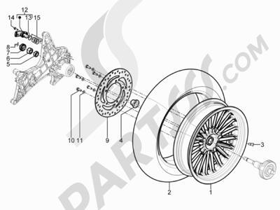 Piaggio BEVERLY 125 RST 4V ie E3 2010-2011-2012-2013-2014-2015 Rueda trasera