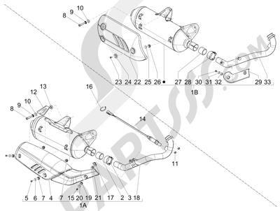 Piaggio BEVERLY 125 RST 4V ie E3 2010-2011-2012-2013-2014-2015 Silenciador