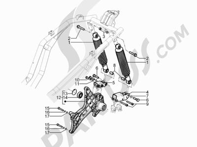 Piaggio BEVERLY 125 RST 4V ie E3 2010-2011-2012-2013-2014-2015 Suspensión trasera - Amortiguador es