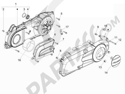 Piaggio BEVERLY 125 RST 4V ie E3 2010-2011-2012-2013-2014-2015 Tapa cárter - Refrigeracion cárter