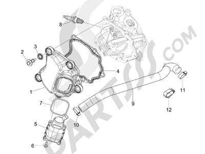 Piaggio BEVERLY 125 RST 4V ie E3 2010-2011-2012-2013-2014-2015 Tapa culata