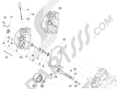 Piaggio BEVERLY 125 RST 4V ie E3 2010-2011-2012-2013-2014-2015 Tapa volante magnetico - Filtro de aceite