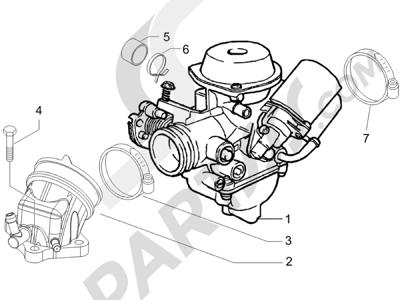 Piaggio BEVERLY 125 SPORT E3 2007-2008 Carburador completo - Racord admisión
