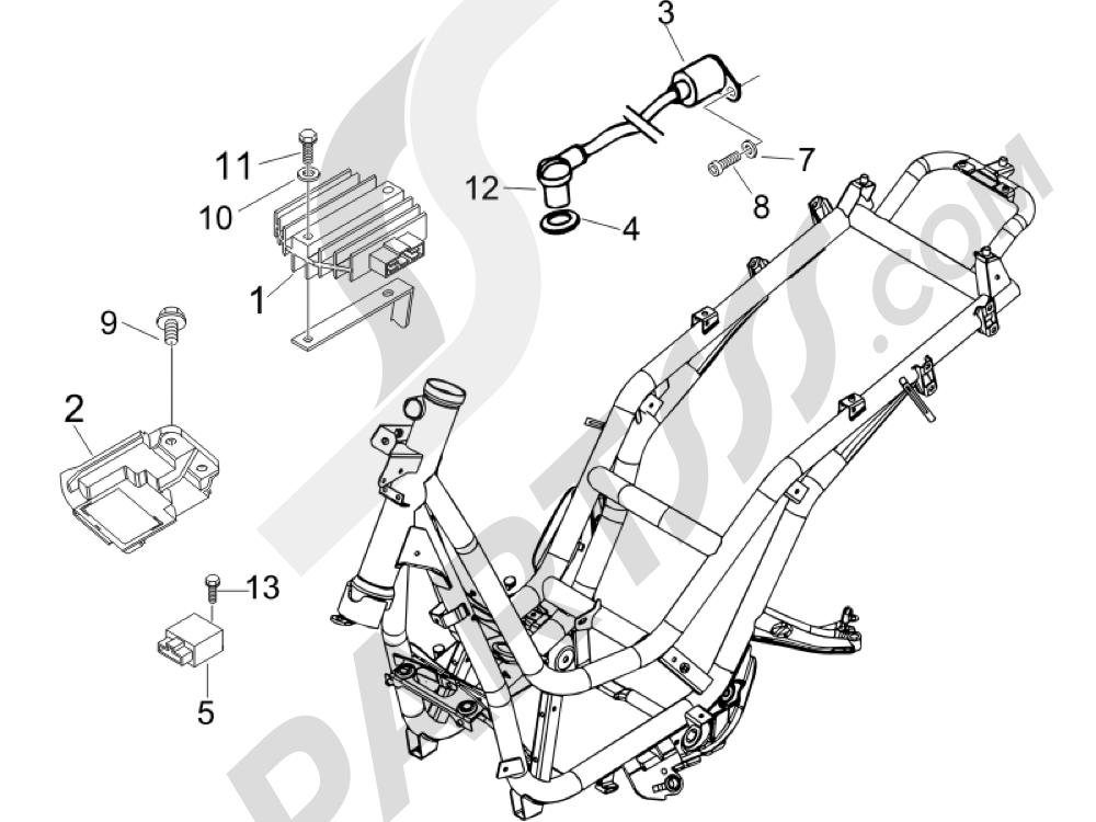Piaggio BEVERLY 125 SPORT E3 2007-2008 Reguladores de tensión - Centralitas electrónicas - Bobina A.T.