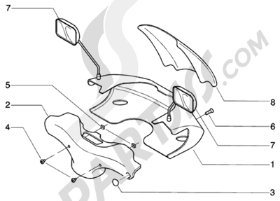 Piaggio BEVERLY 200 ANTERIOR 2005 Cubre manillar