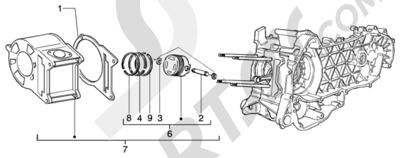 Piaggio BEVERLY 200 ANTERIOR 2005 Grupo cilindro-piston-eje de piston