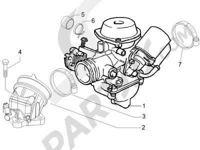 Piaggio BEVERLY 250 CARBURACION 2005 Carburador completo - Racord admisión