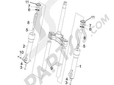 Piaggio BEVERLY 250 CARBURACION 2005 Componentes de la horquilla (Kayaba)