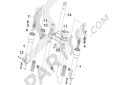 Piaggio BEVERLY 250 CARBURACION 2005 Componentes de la horquilla (MVP)