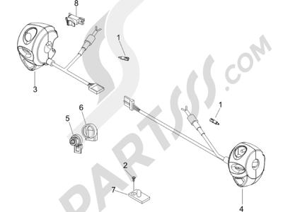 Piaggio BEVERLY 250 CRUISER E3 ie 2007-2009 Conmutadores - Conmutadores - Pulsadores - Interruptores