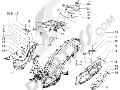 Piaggio BEVERLY 250 CRUISER E3 ie 2007-2009 Cubierta central - Estribos