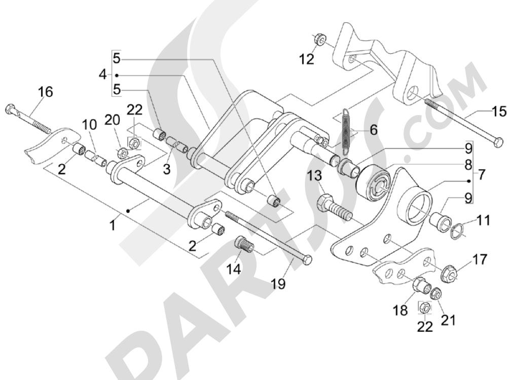 Brazo oscilante Piaggio BEVERLY 250 CRUISER E3 ie 2007-2009