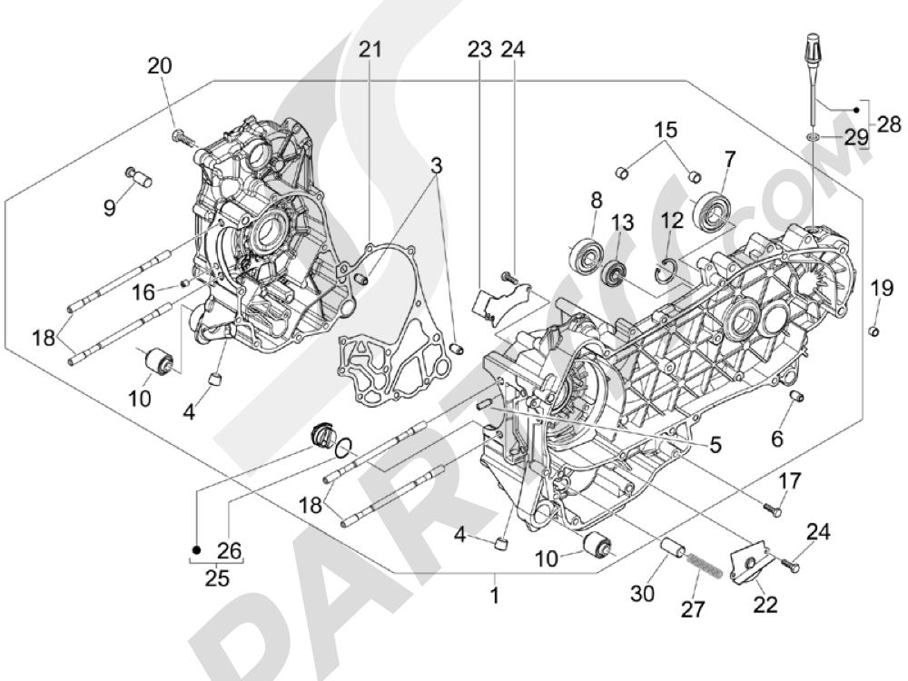 Cárter Piaggio BEVERLY 250 CRUISER E3 ie 2007-2009