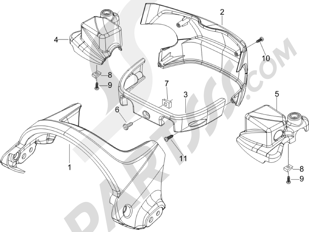 Coberturas manillar Piaggio BEVERLY 250 CRUISER E3 ie 2007-2009